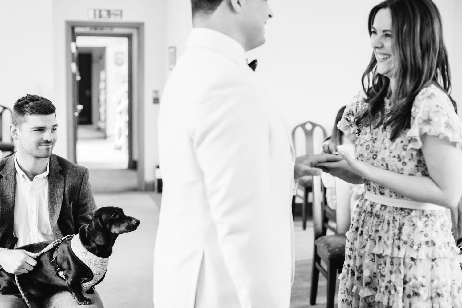 St Albans Registry Office Wedding with sausage dog and bride in floral wedding dress