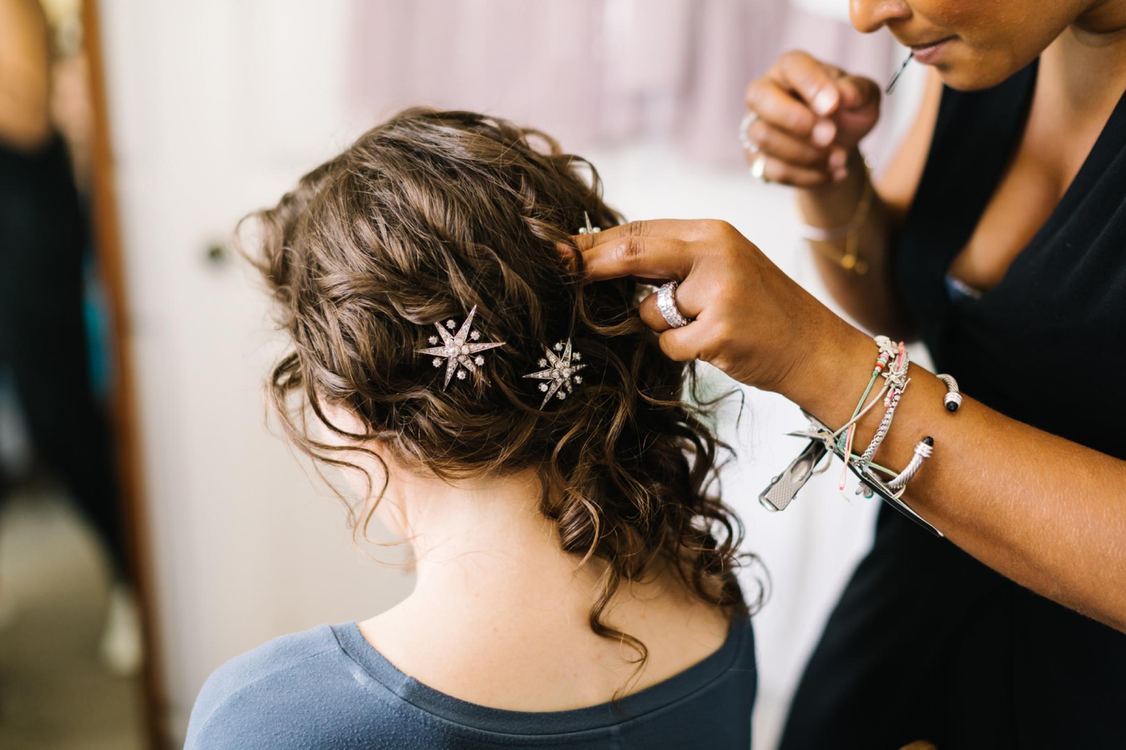 Hertfordshire Festival Wedding Photographer Curly Hair Bride
